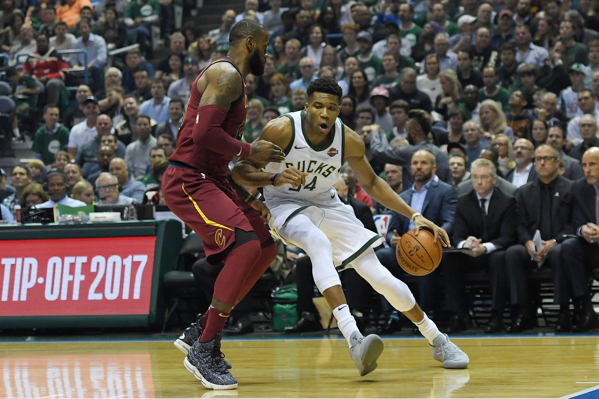 LeBron James, left, with Giannis Antetokounmpo.