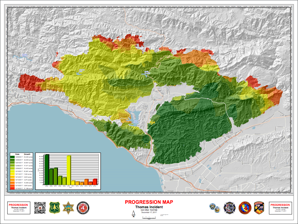 California Fire Map Update Thomas Fire Is Second Largest In State
