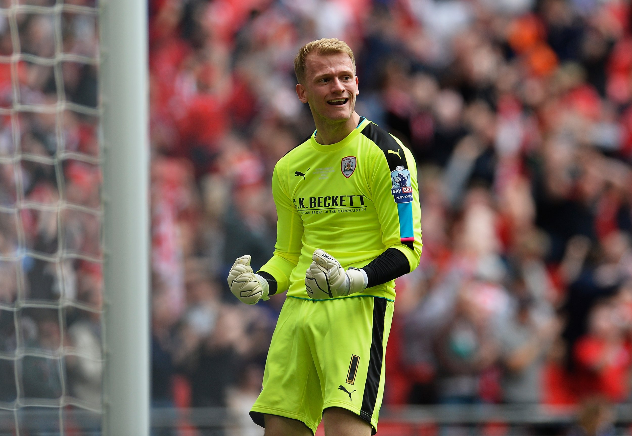 Adam Davies of Barnsley F.C. at Wembley Stadium, London, England, May 29 2016.