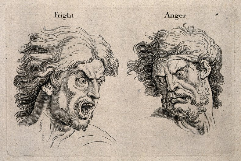 A_frightened_and_an_angry_face,_left_and_right_respectively