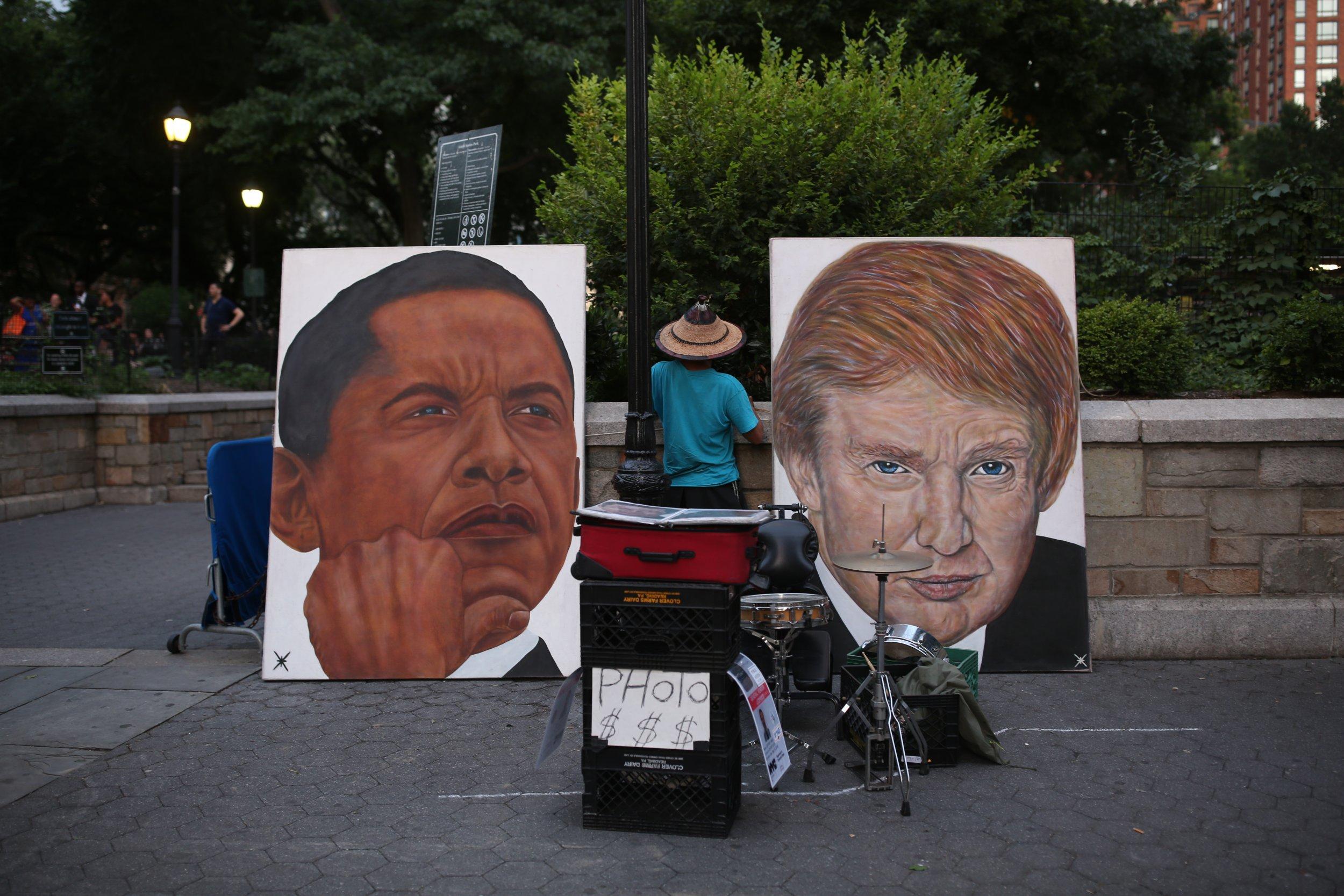 trump obama paintings