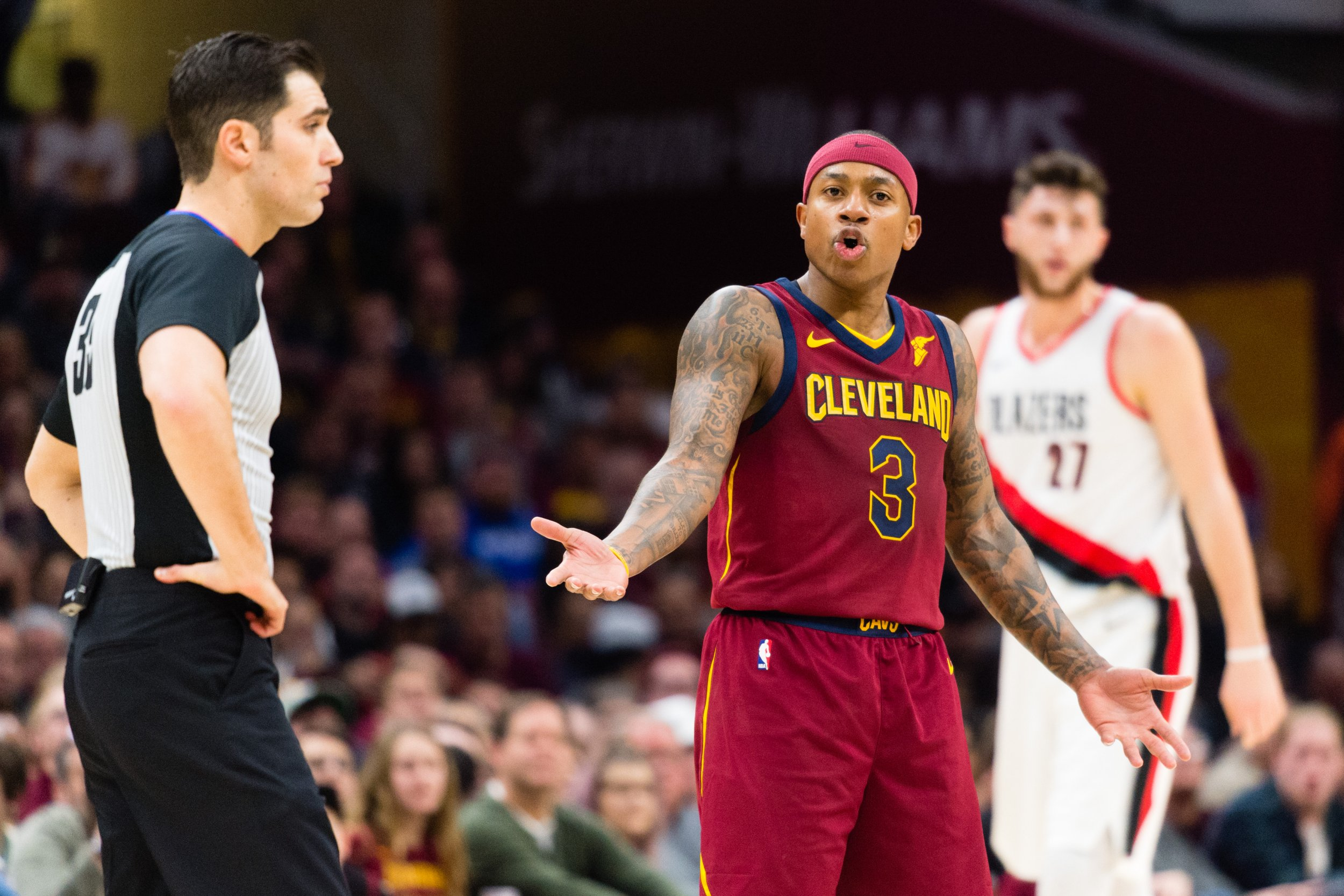 Isaiah Thomas of the Cleveland Cavaliers, center, at Quicken Loans Arena, January 2.