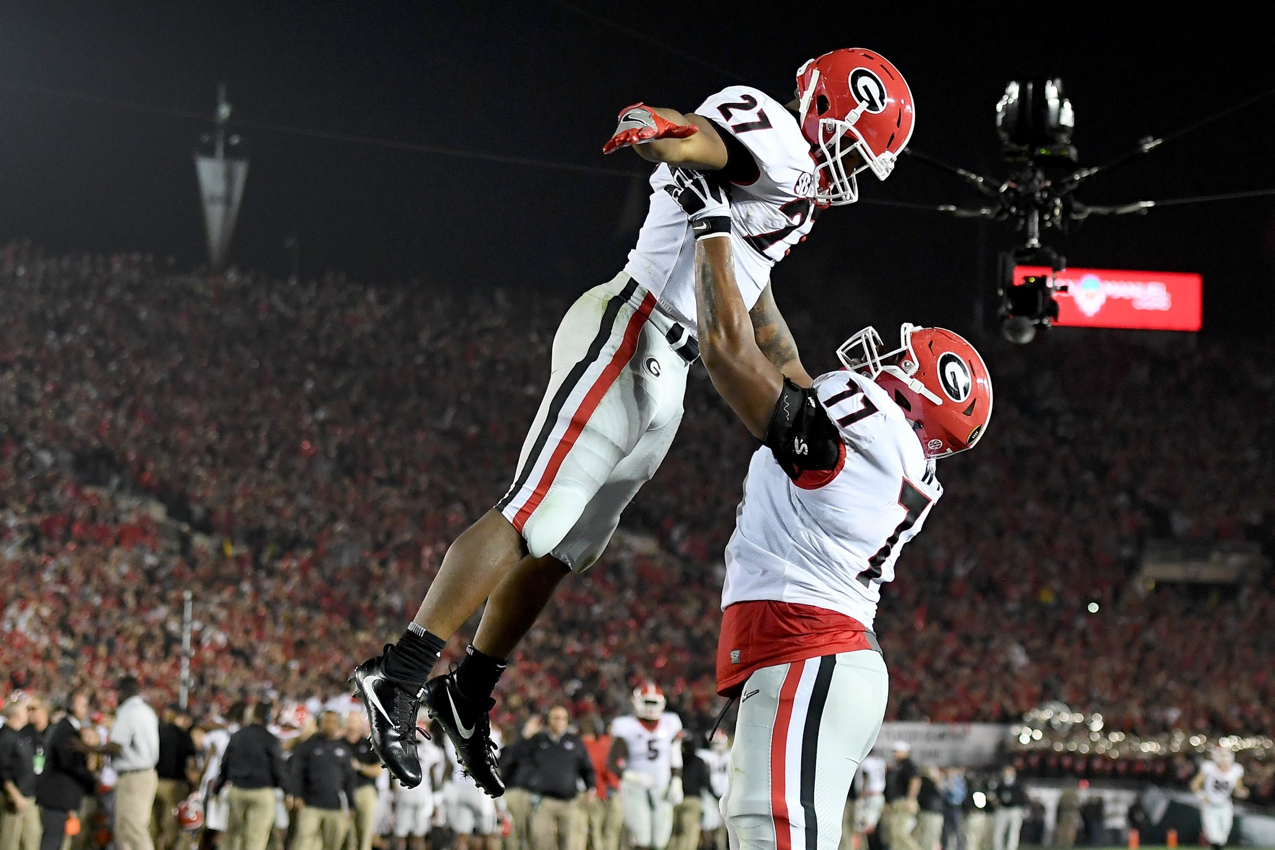 Nick Chubb, left, and Isaiah Wynn of the Georgia Bulldogs at the Rose Bowl in Pasadena, California, January 1.