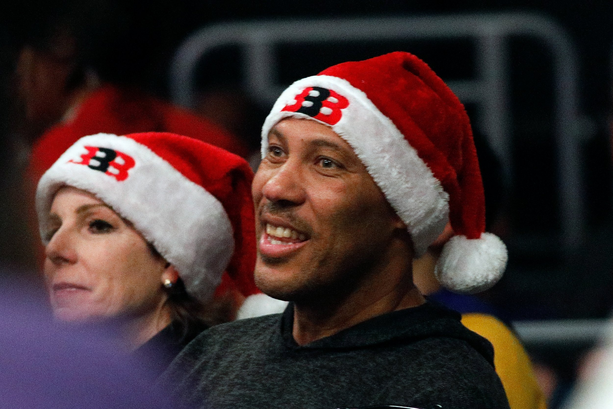 LaVar Ball, center, at Staples Center, Los Angeles.