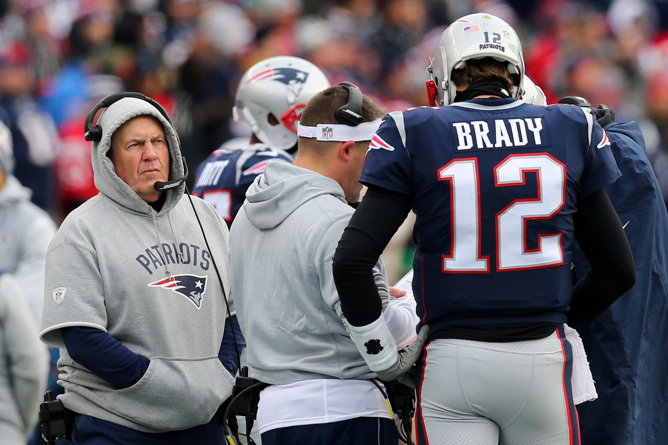 Head coach Bill Belichick of the New England Patriots and Tom Brady at Gillette Stadium, Foxboro, December 24 2017.
