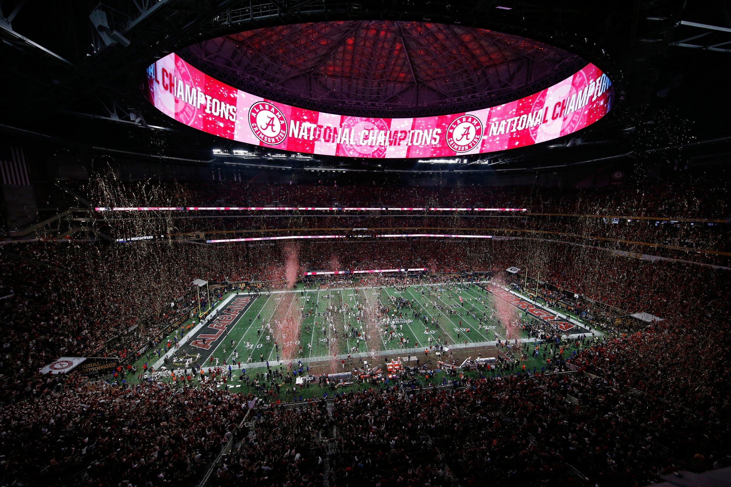 Mercedes-Benz Stadium in Atlanta, Georgia, as the Alabama Crimson Tide celebrates beating the Georgia Bulldogs, January 8.