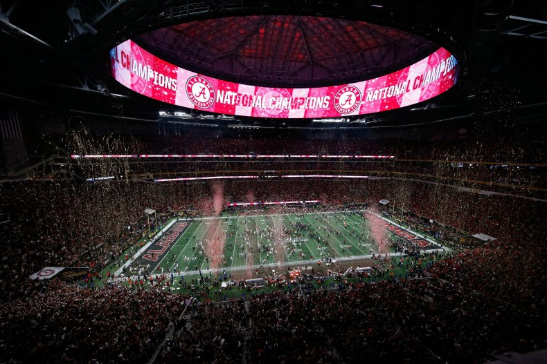 Mercedes-Benz Stadium in Atlanta, Georgia, as the Alabama Crimson Tide celebrates beating the Georgia Bulldogs, January 8.