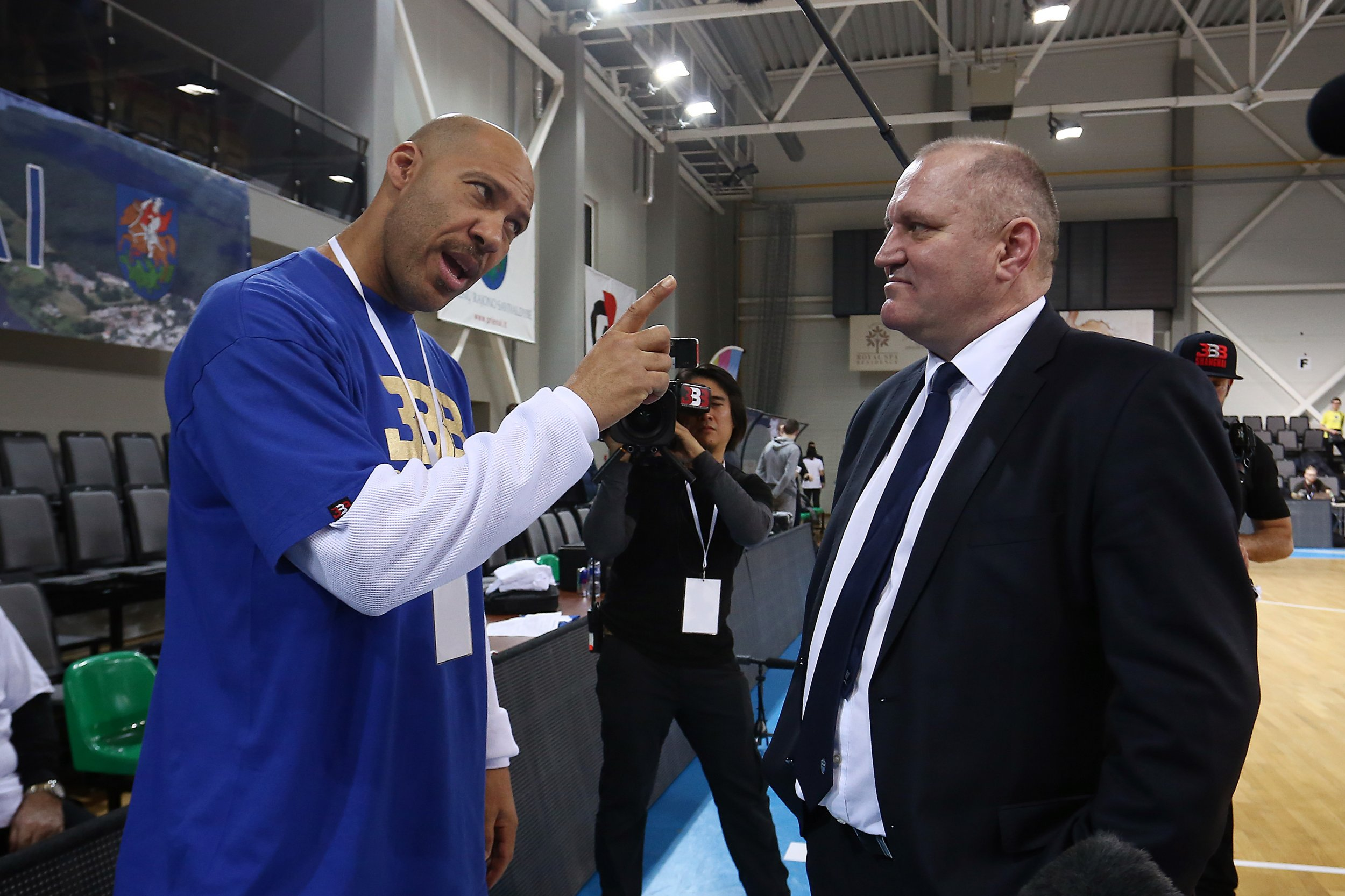 LaVar Ball, father of LiAngelo and LaMelo Ball, talks to Virginijus Seskus, head coach of Vytautas Prienai, in Prienai, Lithuania, January 9.