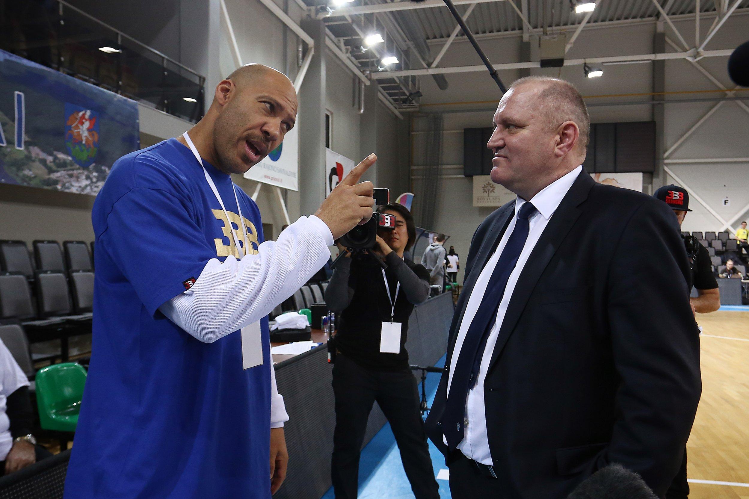LaVar Ball, father of LiAngelo and LaMelo Ball, talks to Virginijus Seskus, head coach of Vytautas Prienai, in Prienai, Lithuania, January 9.