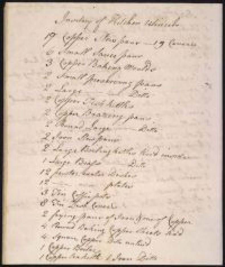 James Hemings 1796 Inventory of Kitchen Utensils