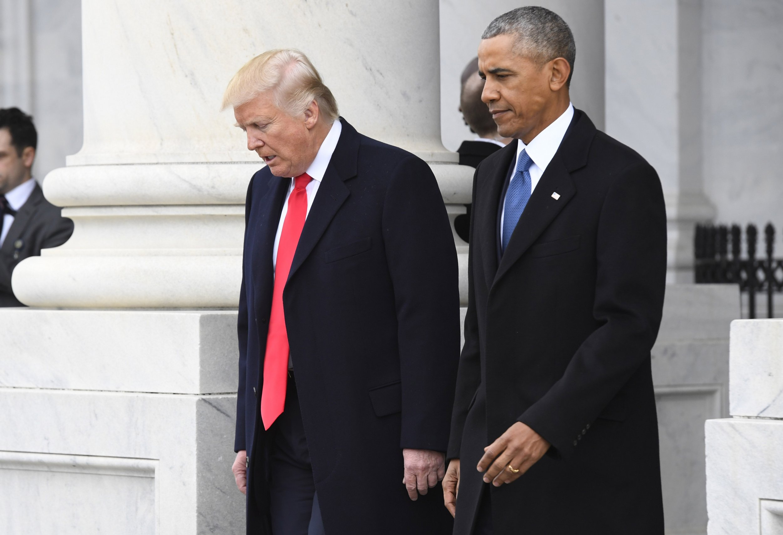 Obama and Trump walking