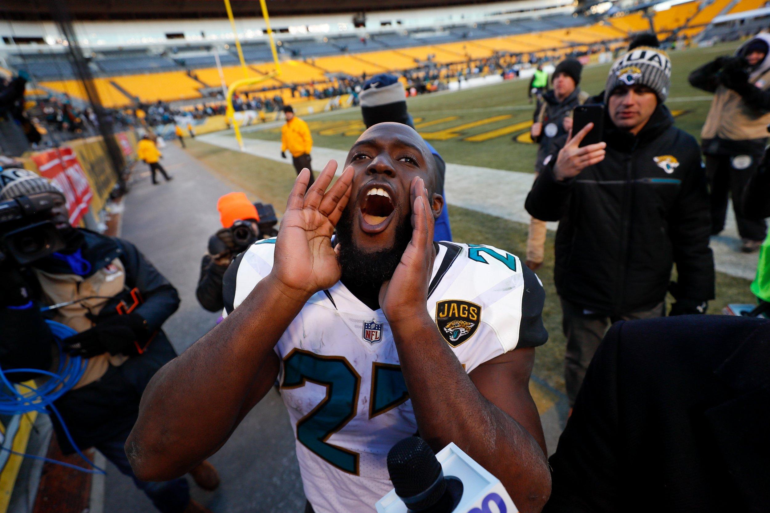 Leonard Fournette of the Jacksonville Jaguars at Heinz Field, Pittsburgh, January 14.