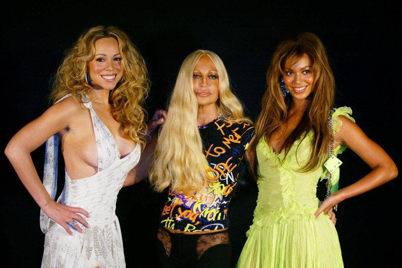 Donatella Versace with Beyonce and Mariah Carey