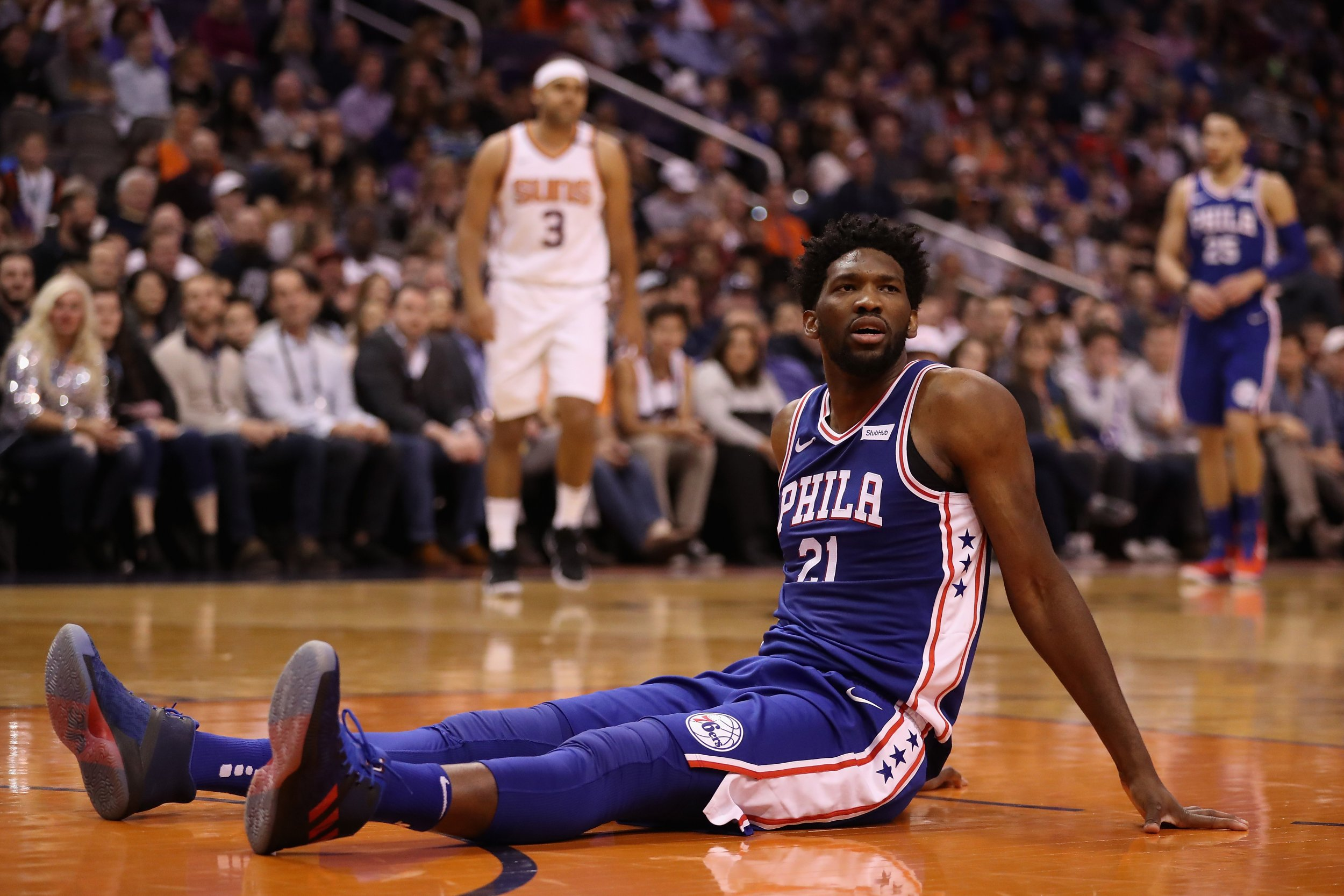 Joel Embiid of the Philadelphia 76ers in Phoenix, Arizona, December 31 2017.