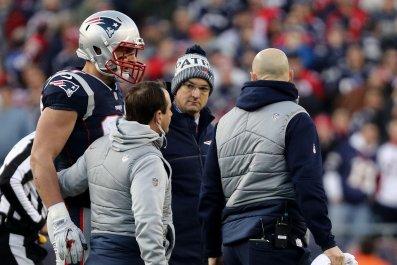 New England Patriots tight end Rob Gronkowski, far left.