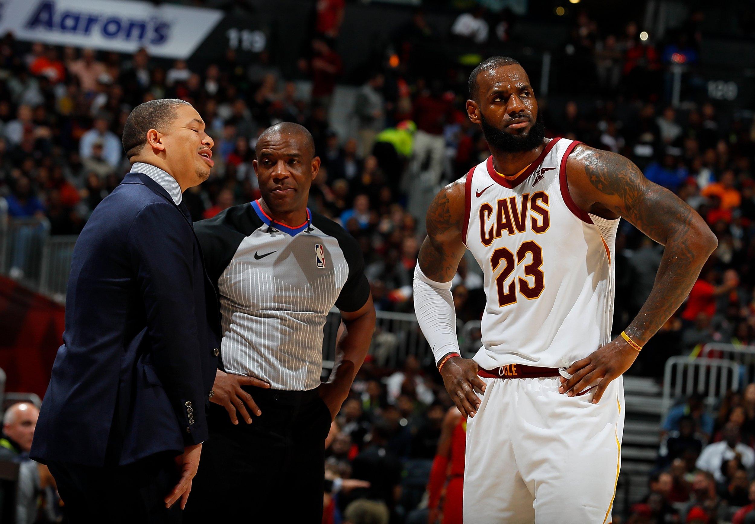 Tyronn Lue, left, with LeBron James.