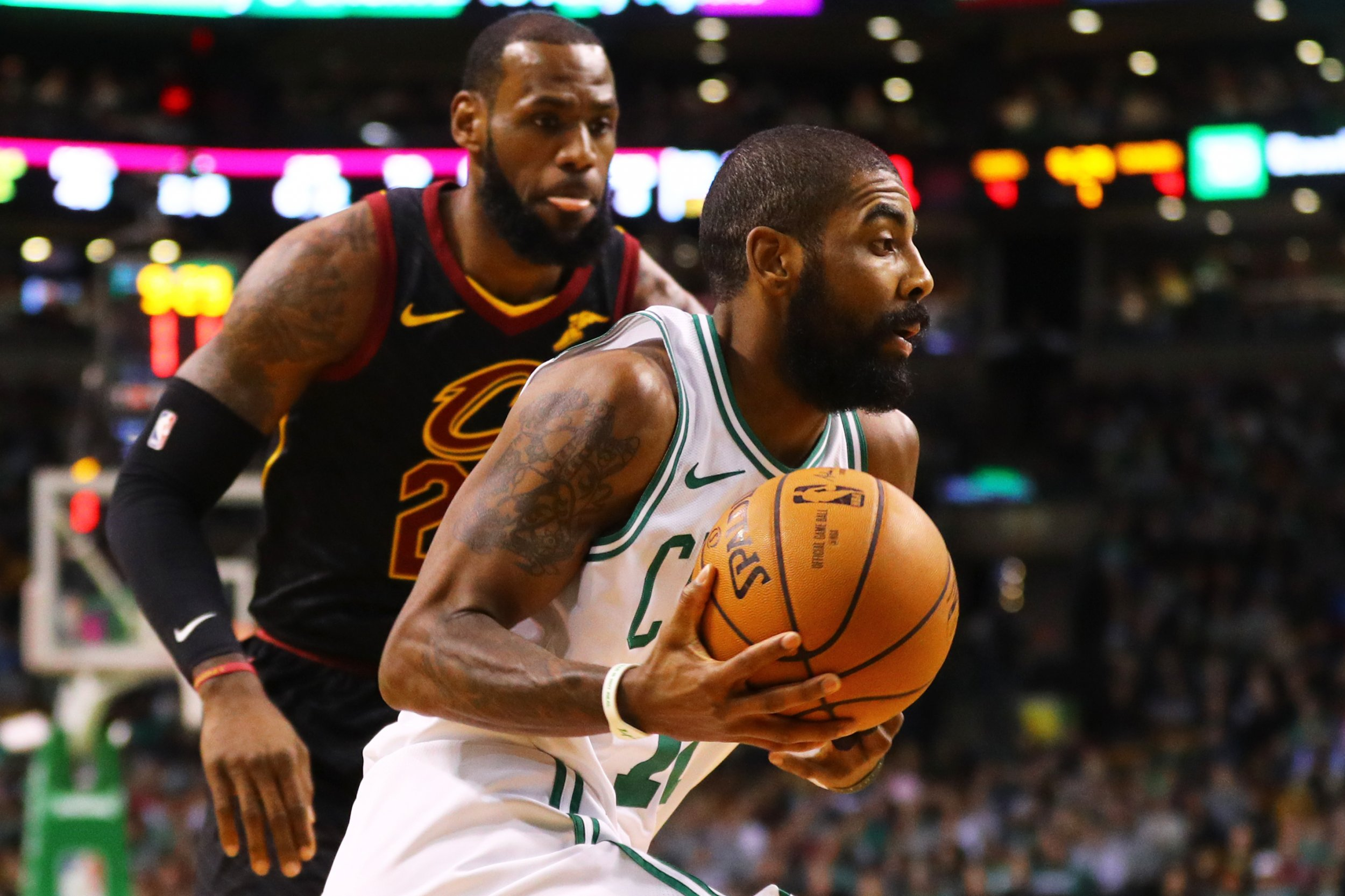 Kyrie Irving of the Boston Celtics drives against LeBron James of the Cavaliers at TD Garden, Boston, January 3.