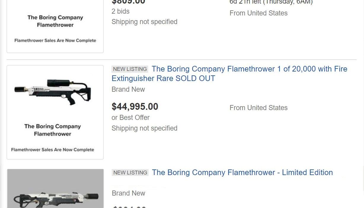 elon musk boring flamethrower ebay