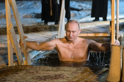 Putin in cold water