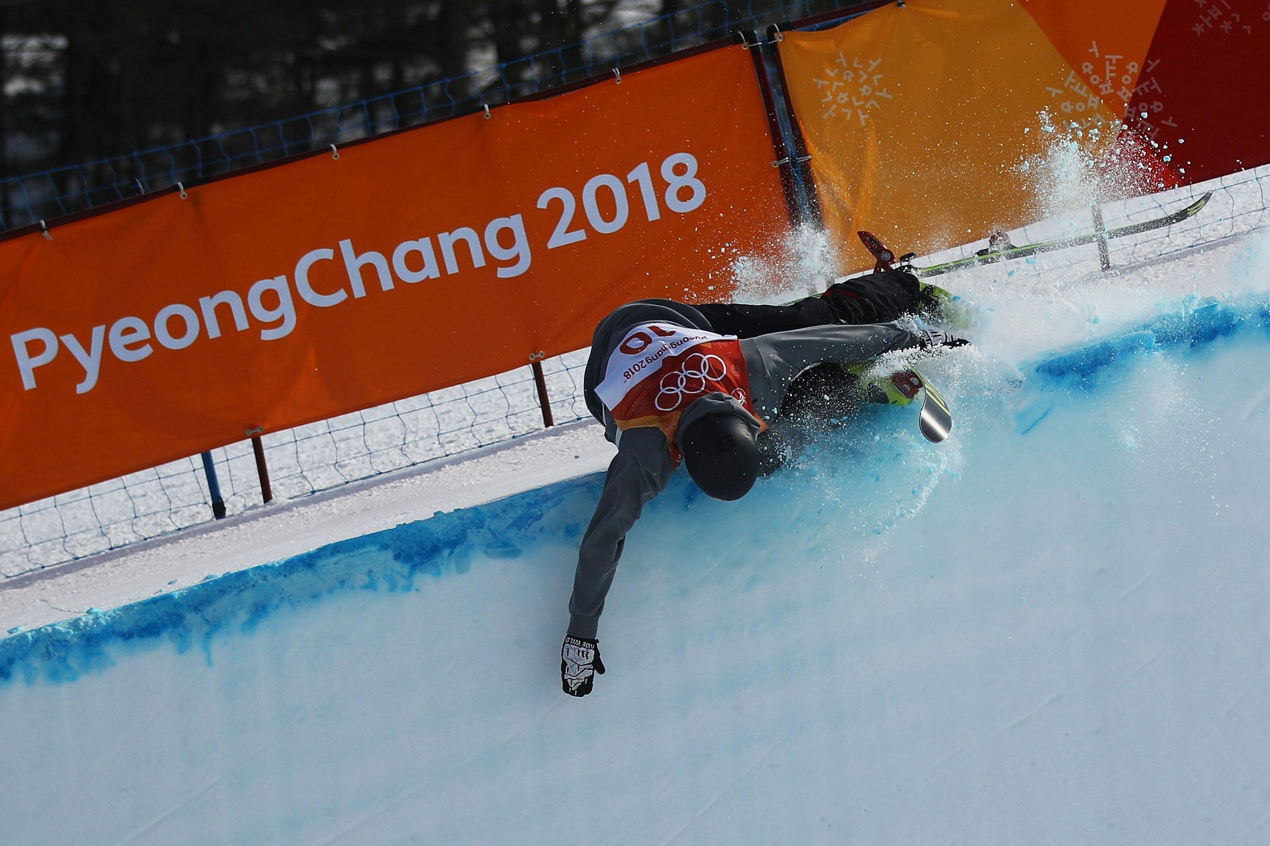 Joel Gisler crashes during men's halfpipe at Olympics
