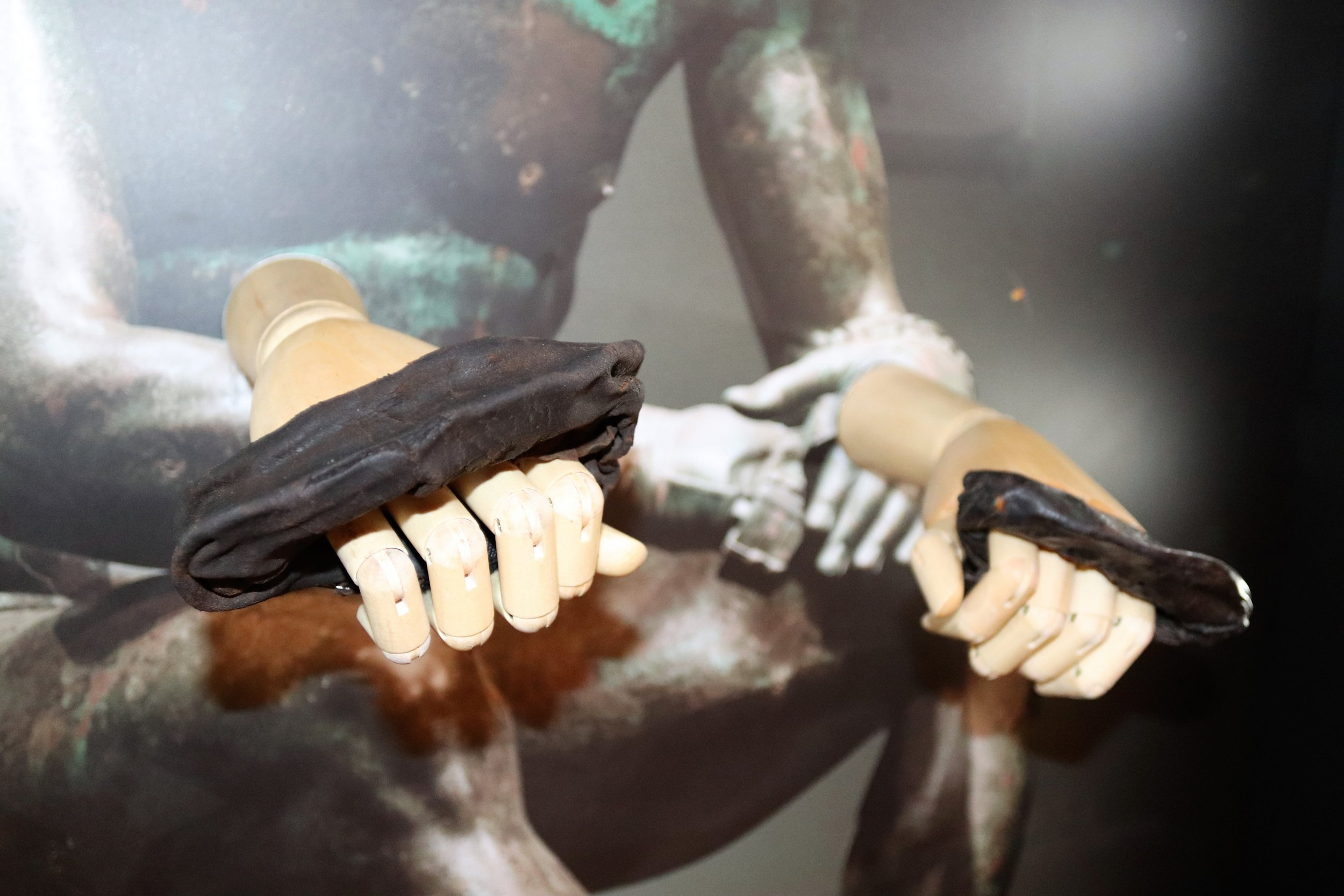 Roman Boxing Gloves on Hands (c) TheVindolanda Trust