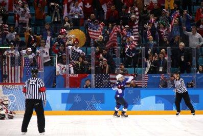 Jocelyne Lamoureux of the United States at Gangneung Hockey Centre, South Korea, February 22.