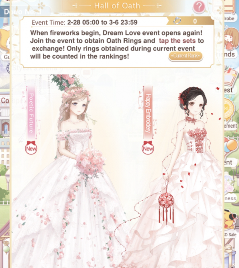 love nikki happiness event guide hall of oath honeymoon holyland tips suits