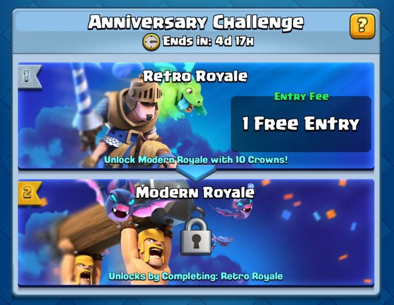 Clash, royale, victory, gold, anniversary, event, modern, retro, challenge, free, chest