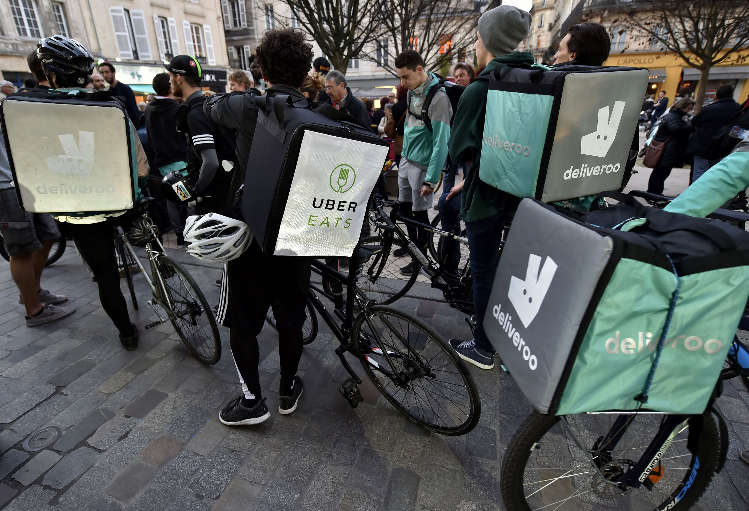 GettyImages-653583136 Deliveroo and Uber Eats riders protest