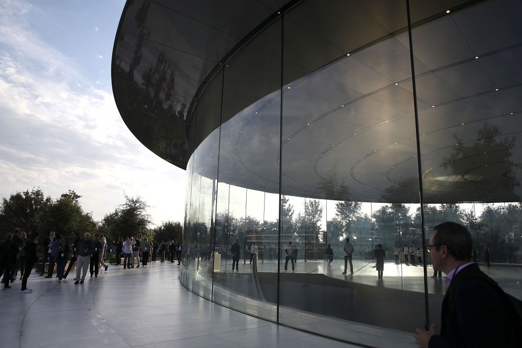 apple park glass walls ambulance