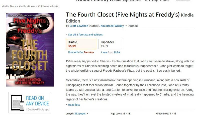 FNaF Fourth closet product page