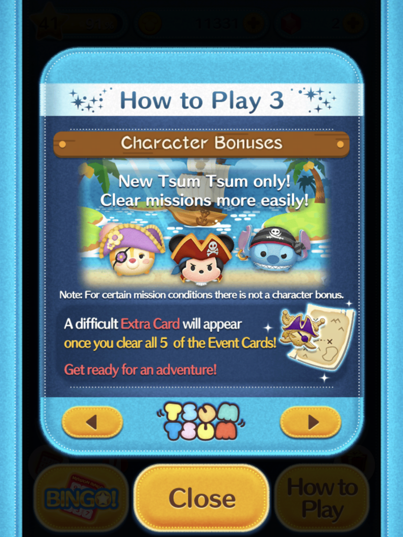tsum tsum pirate treasure hunt help pointy hair rosy cheeked burst yellow time bubble tips last card