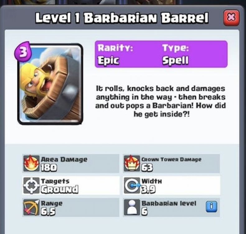 clash, royale new cards barbarian barrel leaked release date April 2018