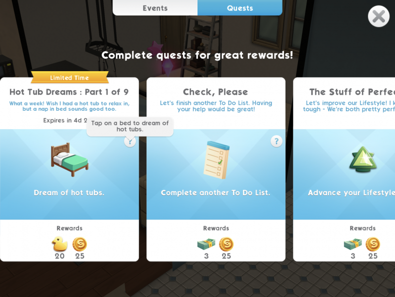 the sims mobile what are special events how to complete hot tub dreams tips guide cheats rewards end time