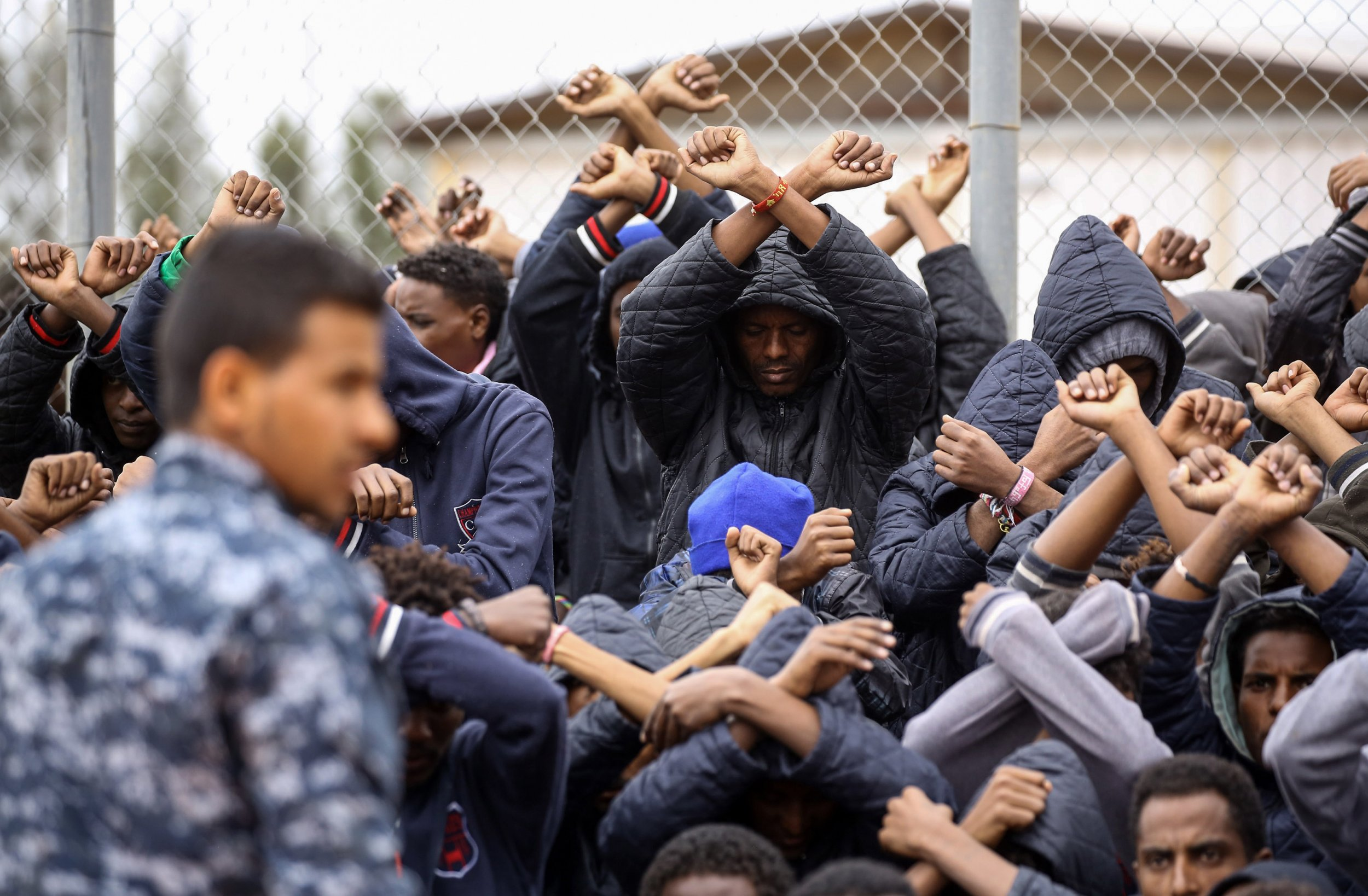 Libya migrants protest detention