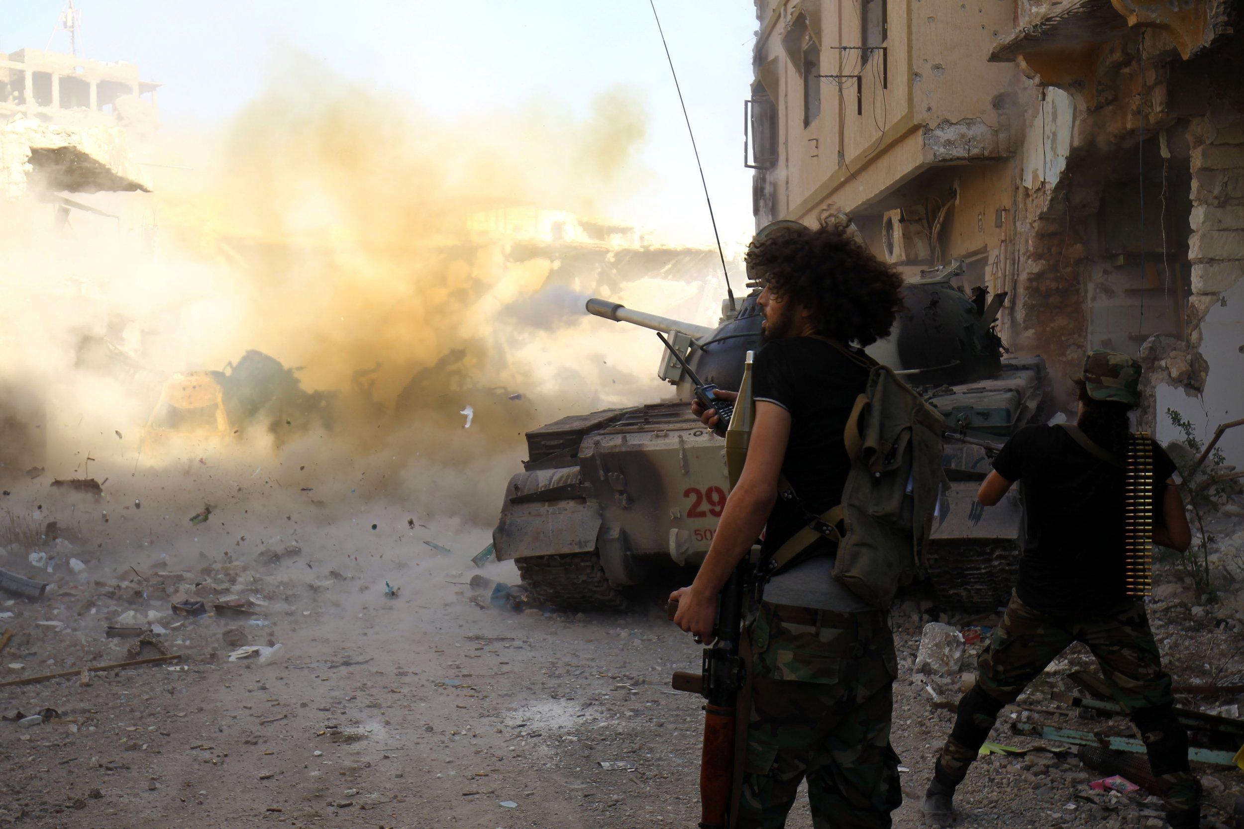 LNA soldiers fight in Benghazi Libya