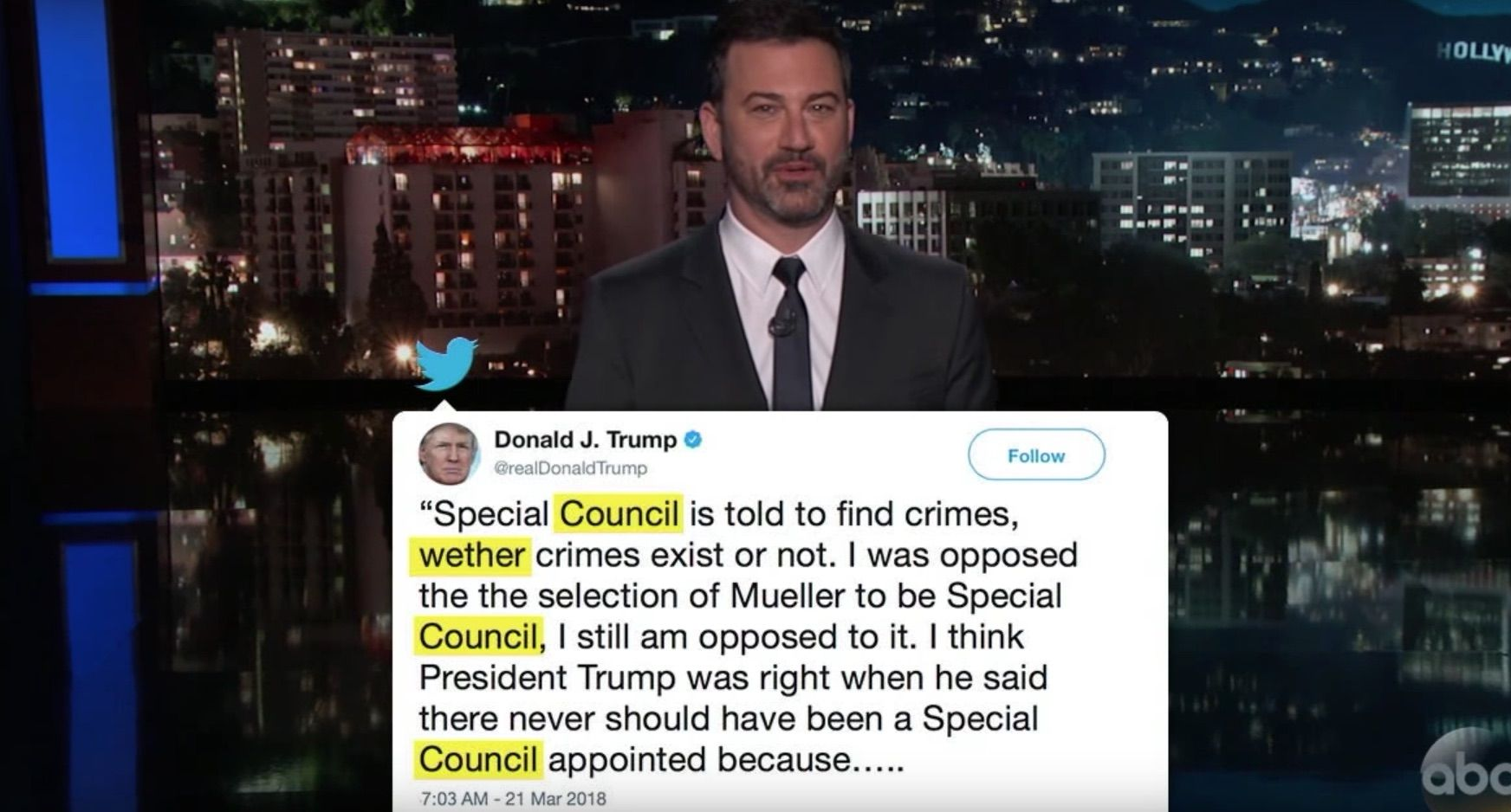 Kimmel mocks Trump's bad spelling