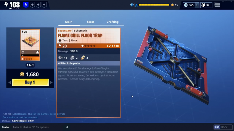 'Fortnite' Flame Grill Floor Trap