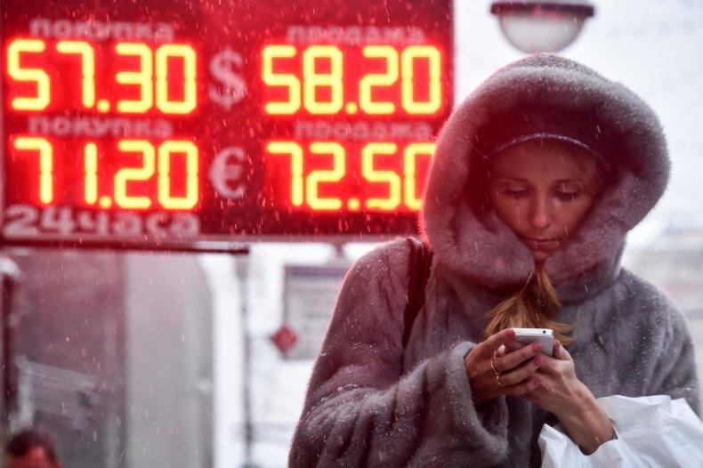 Russian ruble value falls