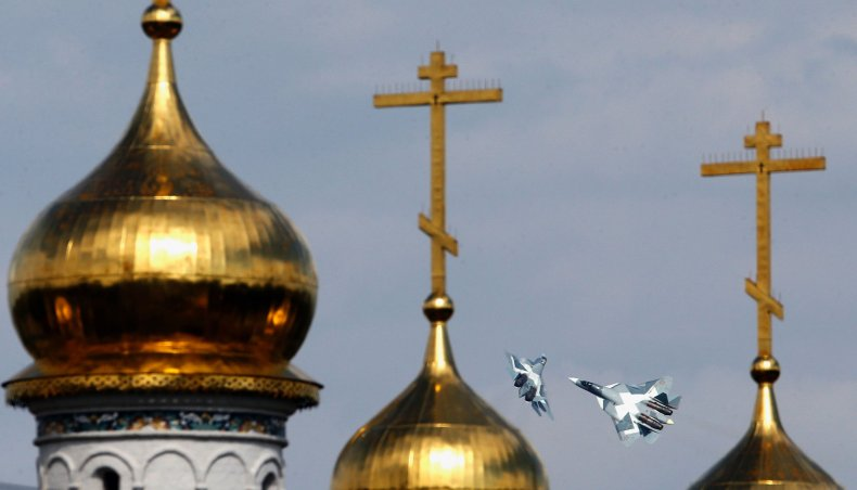 Su-57 performs in Moscow