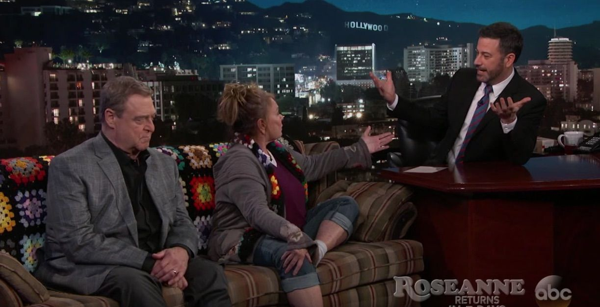 Roseanne argues with Kimmel about Trump