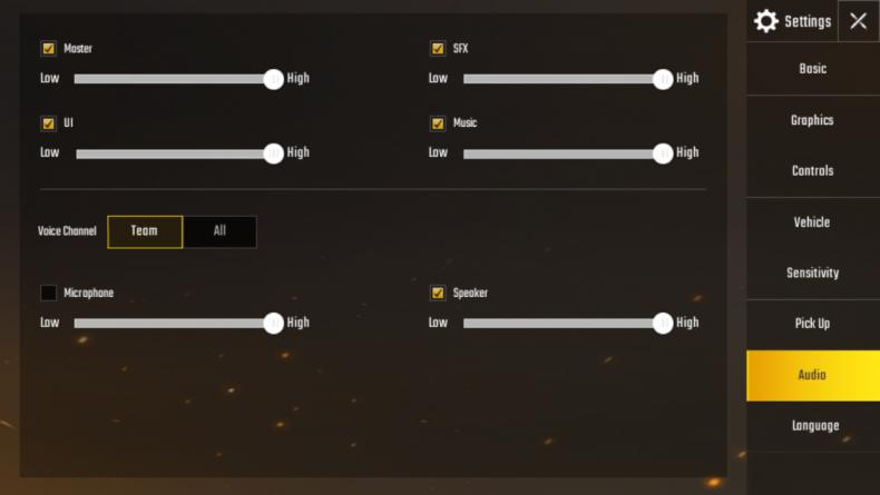 'PUBG Mobile' Audio Options