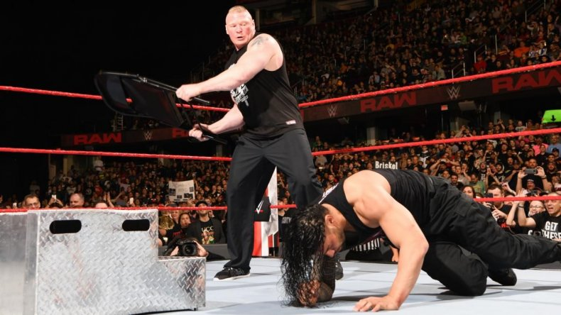 brock lesnar roman reigns chair