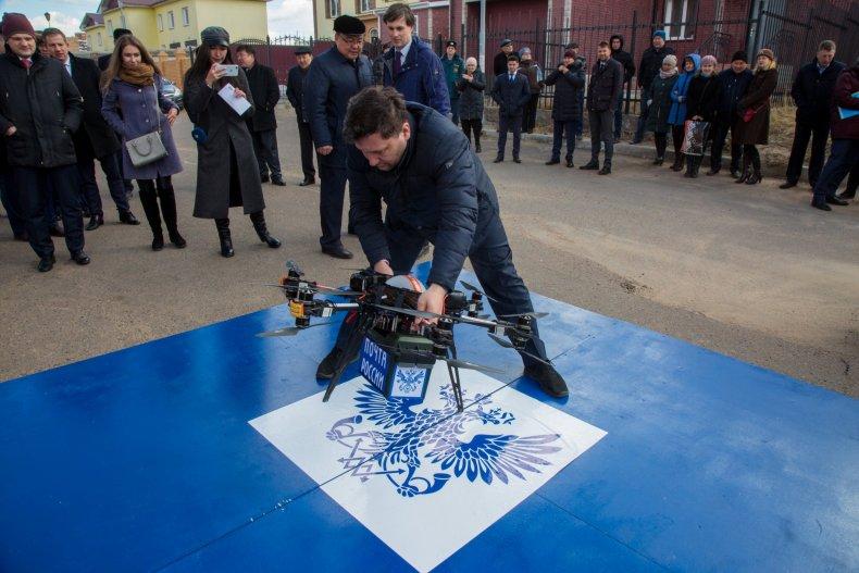 Russian Post drone test crash