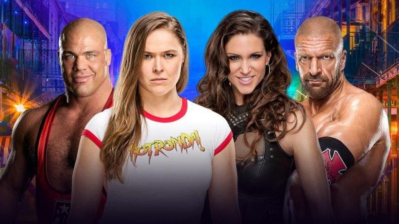 kurt angle ronda rousey triple h steph WrestleMania 34