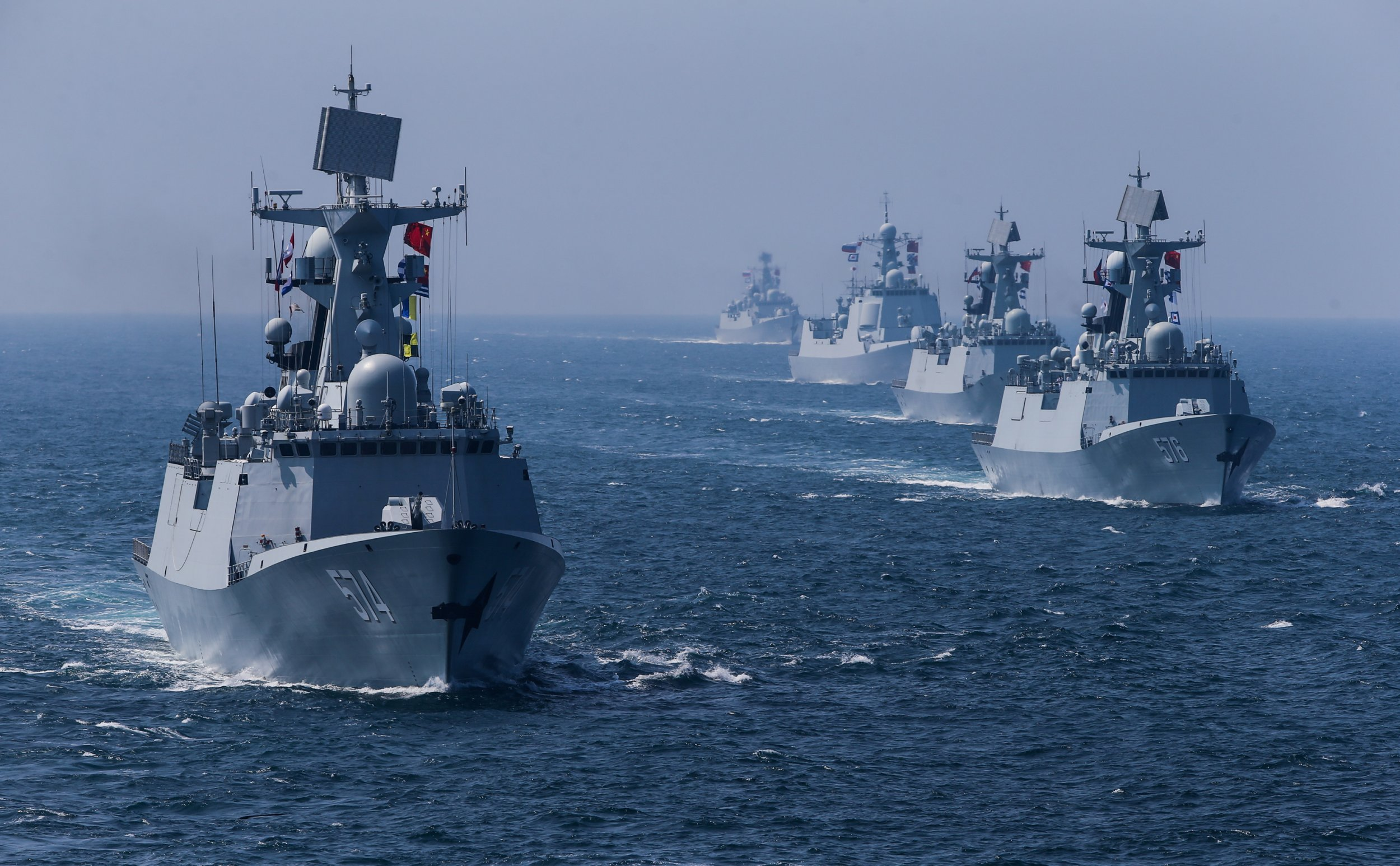 Chinese and Russian warships conduct drills