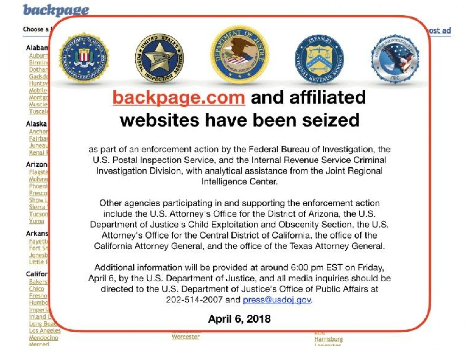 Backpage Website Shut Down, Founder Charged With 93 Counts