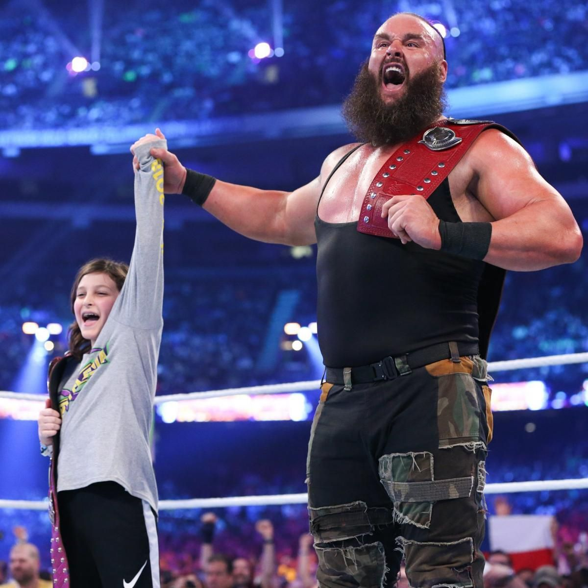 braun strowman and nicholas wrestlemania 34