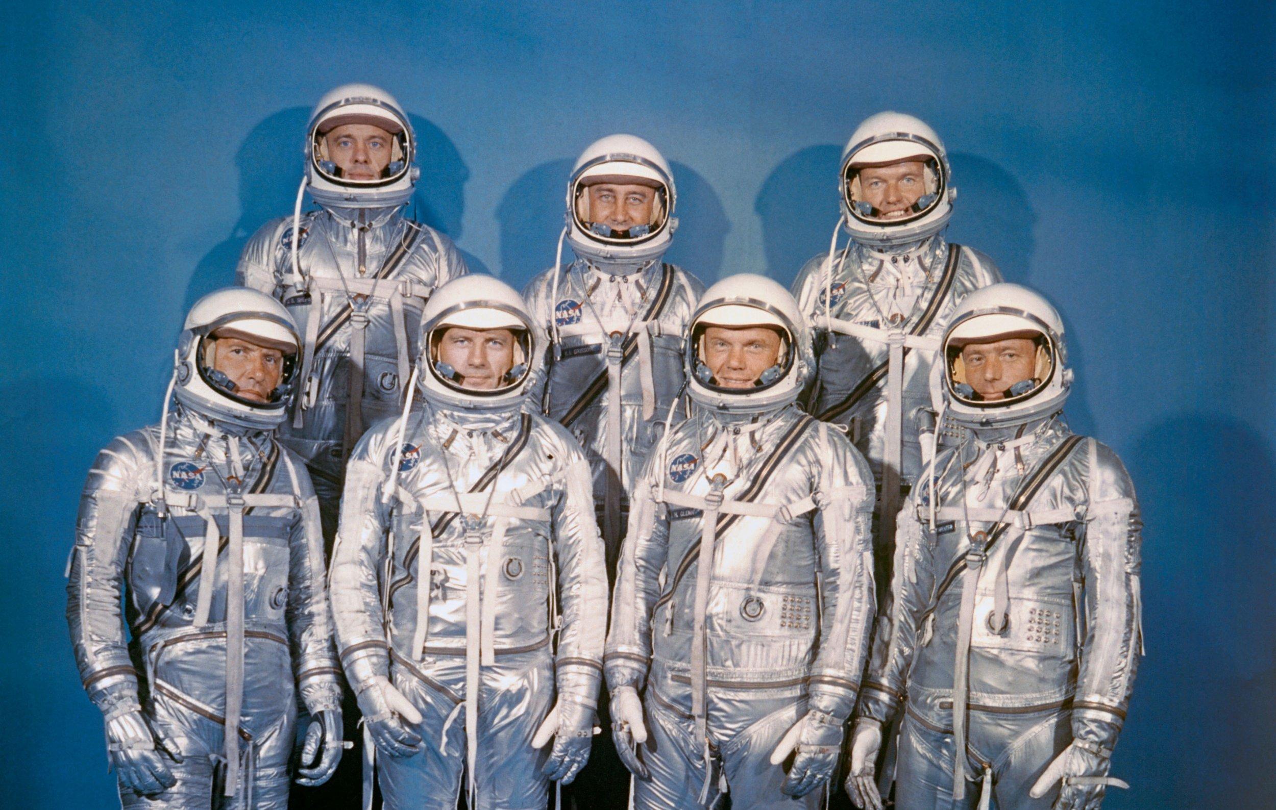 Photo of NASA/'s Original Seven Mercury Astronauts-Shepard-Glenn-Grissom 1959