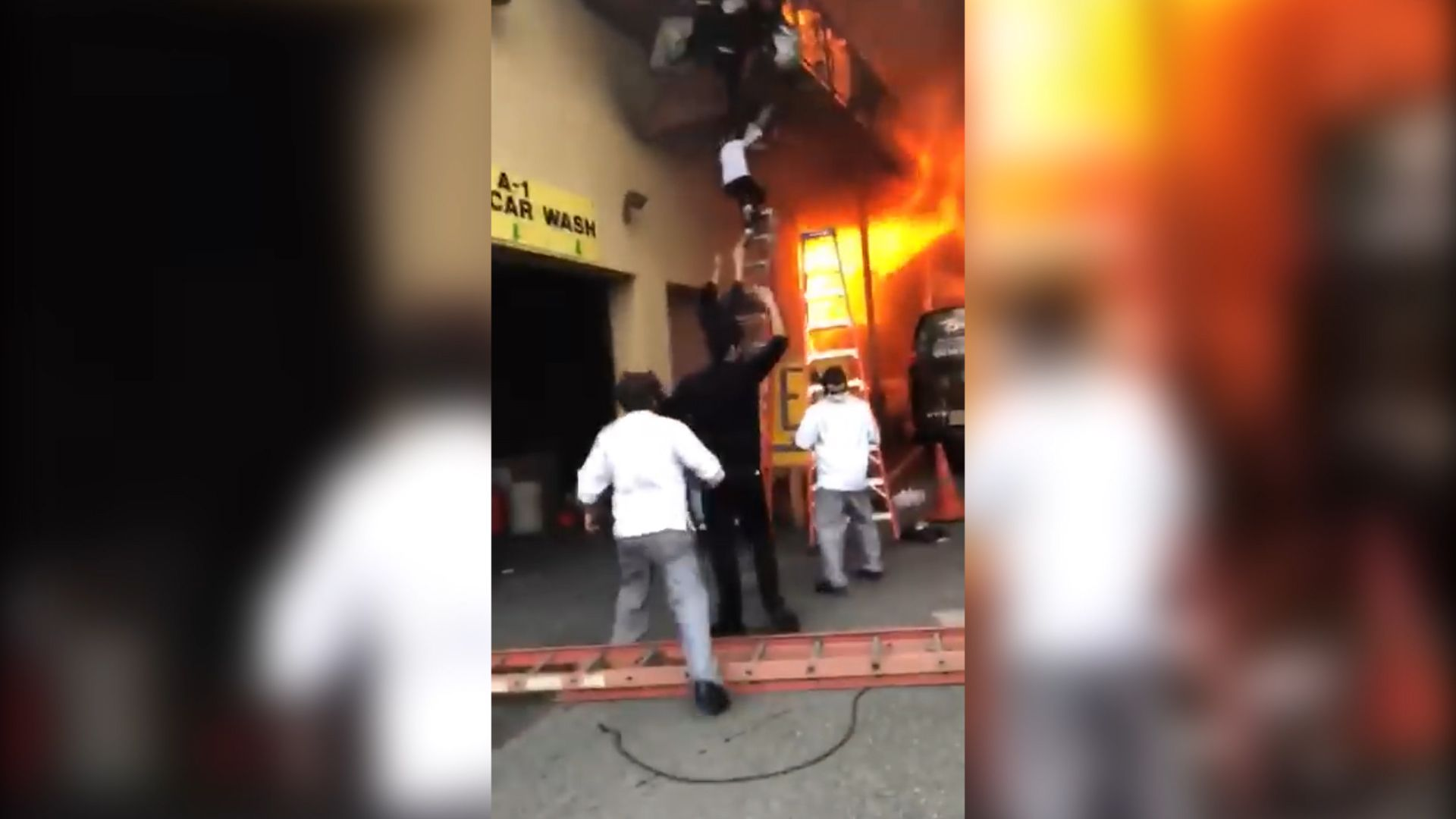 Watch Video: Young girls jumping down a dance studio in New Jersey as fire tear through